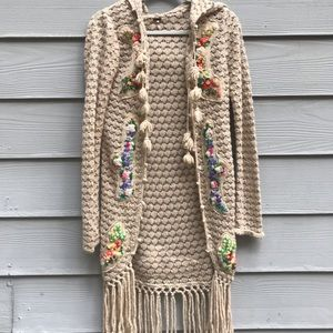 Free People Boho crocheted cardigan medium